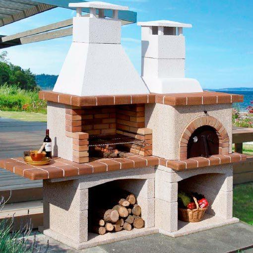 Barbacoa con horno pallars chimeneas vaquer for Ladrillos para barbacoa