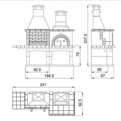 Barbacoa con horno pallars chimeneas vaquer - Medidas barbacoas de obra ...