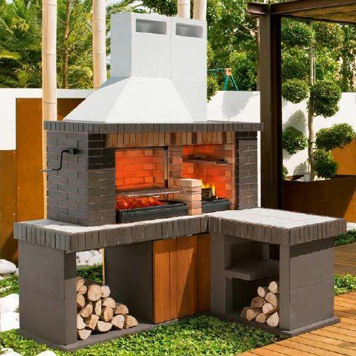 Barbacoa prefabricada delta chimeneas vaquer for Ladrillos para barbacoa