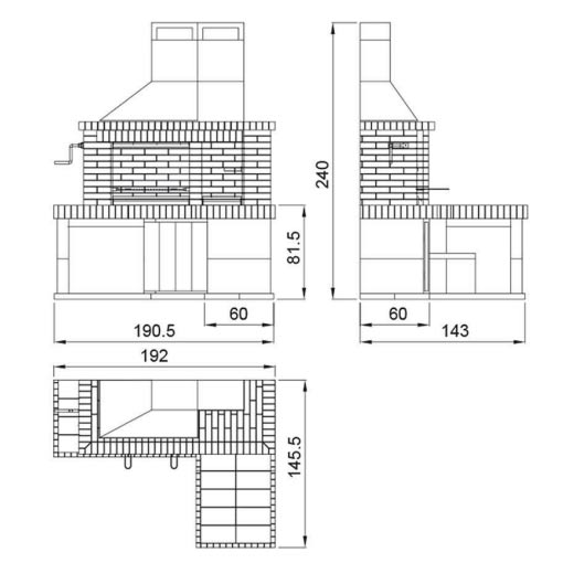 Barbacoa prefabricada delta chimeneas vaquer - Medidas de barbacoas de obra ...