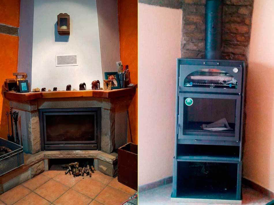 Sustituci n de una chimenea r stica por una estufa horno - Estufas para casa ...