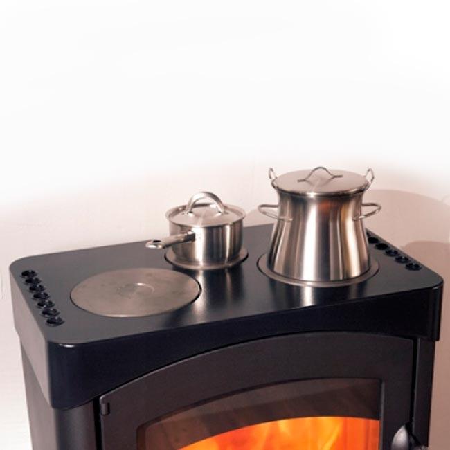 Pallas back estufa de fundici n con hornillo cocina for Cocina a lena de fundicion